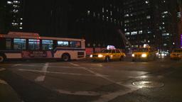 NYC night traffic police car Stock Video Footage
