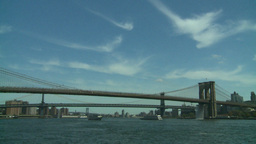 NYC bridges and boats Stock Video Footage