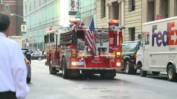HD2008-8-24-20 FDNY fire truck backs into hall Stock Video Footage