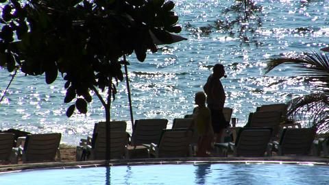 Senior silhouette enjoy the beach Stock Video Footage