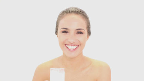 Beautiful model drinking glass of milk Footage