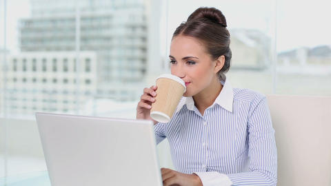 Young businesswoman working on her laptop drinking Footage