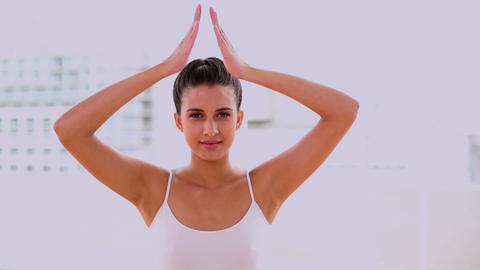 Relaxed Beautiful Woman Practicing Yoga stock footage