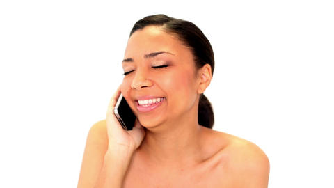 Cute dark haired woman phoning with her smartphone Footage