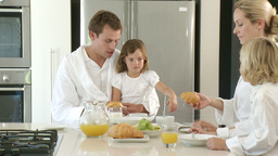 Relaxed Family having breakfast Footage