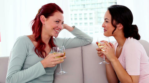 Content young women drinking wine while sitting ch Footage