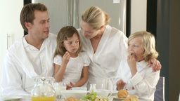 Family Having Breakfast stock footage