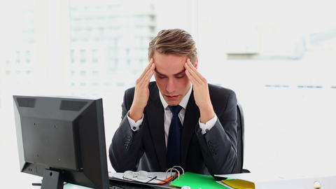 Attractive Businessman Suffering From Headache stock footage