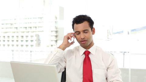 Successful Handsome Businessman Phoning stock footage