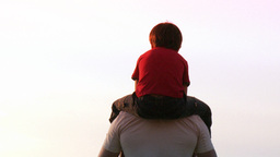 Father with his son on his shoulders Footage