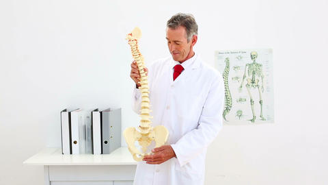 Happy Doctor Explaining Model Of Spine To Camera stock footage