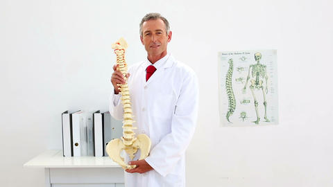 Smiling doctor explaining model of spine to camera Footage