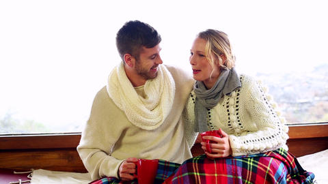 Cute Couple Relaxing Together Under A Blanket In T stock footage
