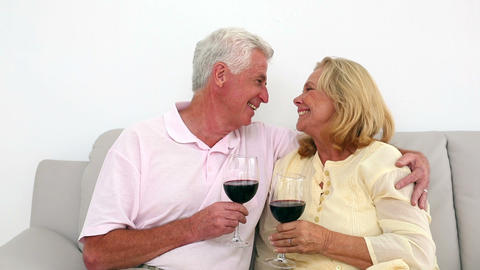 Retired couple drinking red wine on the couch Footage