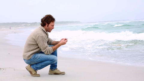 Man looking out to sea Footage