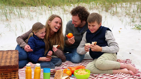 Happy family having a picnic on the beach Footage