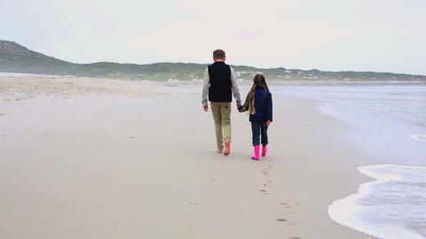 Siblings walking hand in hand on the beach Footage
