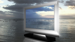 LCD Television in the sea Footage