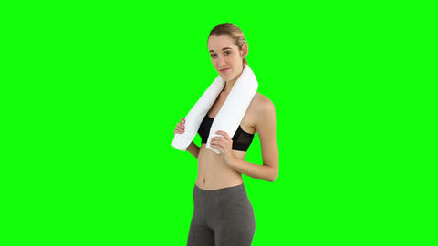 Slim model posing with towel on her shoulders Footage