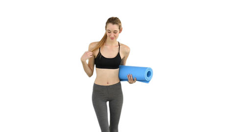 Slim Model Waving And Holding Exercise Mat stock footage