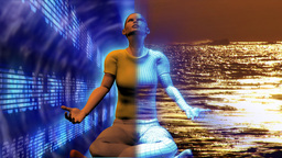 Digital human in Buddha position. Concept of stress and relax in business Animation