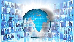 Animation of the Earth turning and business meetings. Concept of worldwide business Animation