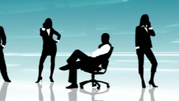 Animation of business people silhouettes on phone Animation