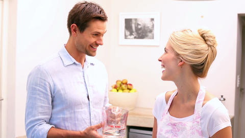 Happy Young Couple Baking Together stock footage