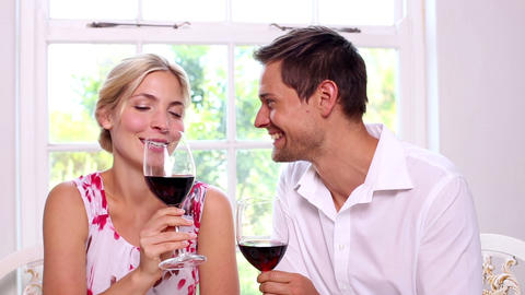 Happy young couple drinking red wine together Footage