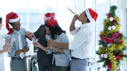 Business team celebrating Christmas in office with Footage