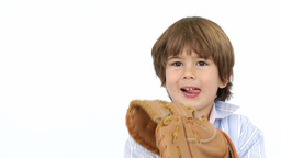 Happy Little Boy Playing Baseball stock footage