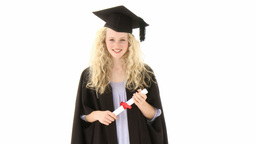 Teenage Girl Celebrating Graduation Footage