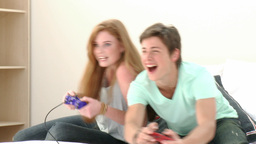 Teenager Couple playing a video Game Footage