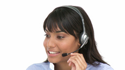 Charming businesswoman using headset Footage