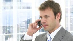 Selfassured business man on phone Footage