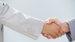Businesspeople closing a deal by handshake Footage