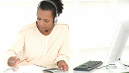 Customer agent stressed with so many bills to pay Footage