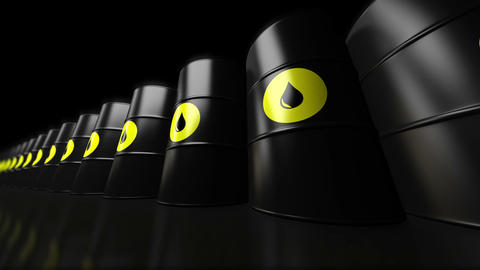 A Group Of Black New Oil Barrels. Loopable stock footage