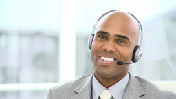 Charming businessman with headset on Footage
