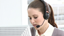 Brunette business woman working in a call center Footage