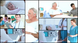 Montage of Elderly people in Hospital Footage
