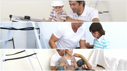 Montage of family doing DIY Animation