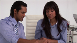 Animation of two business partners working togethe Animation