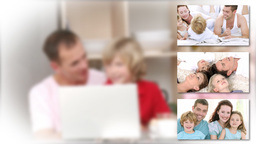 Montage of families playing with children Animation