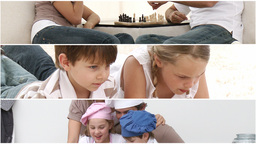 Animation of parents and children playing together Animation