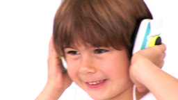 Animation of a little boy listening music Animation