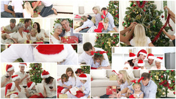 Joyful families offering present to their children for christmas Animation