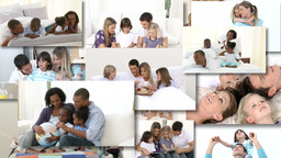 Montage of two families playing together on the bed Animation