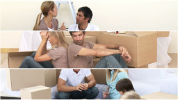 Animation of two families unpacking boxes Animation