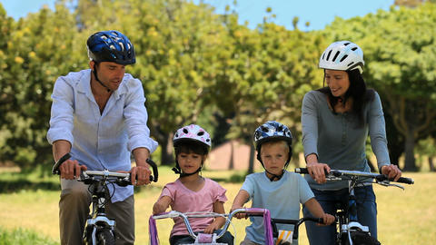 Family biking together Footage